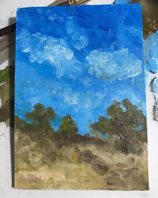 """Mid Afternoon"" 5x7"" . . #artist #fineart #oils #oilpainting #landscape #landscapepainting #westernart #california #desert #sky #clouds #trees #oaktrees #dentonloomis #artgallery #artstudio"