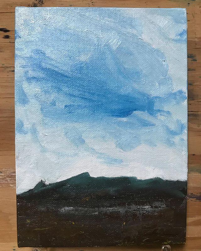 "Low Horizon. 5""x7"" oil on canvas panel. . . #artist #fineart #oils #landscape  #sky #clouds #dentonloomis #artgallery #artstudio #oilandwaterstudio #utrecht"