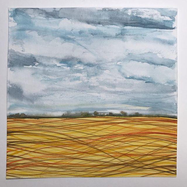 Steel Autumn Sky.  #watercolor #oftruthandbeauty #dentonloomis #fineart #lines #landscape #clouds #fall #abstractart #interiordecorating #interiordesign #artgallery #artstudio