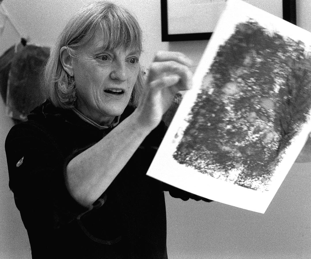 Nancy working on block printing, 2015