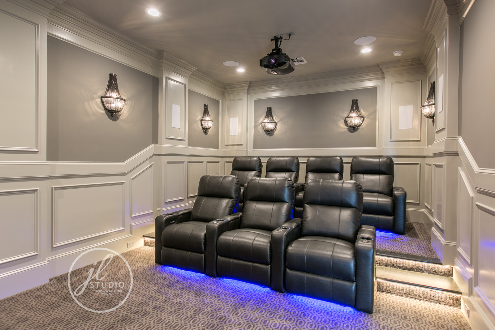 Home theatre designed by JL Studio Designs