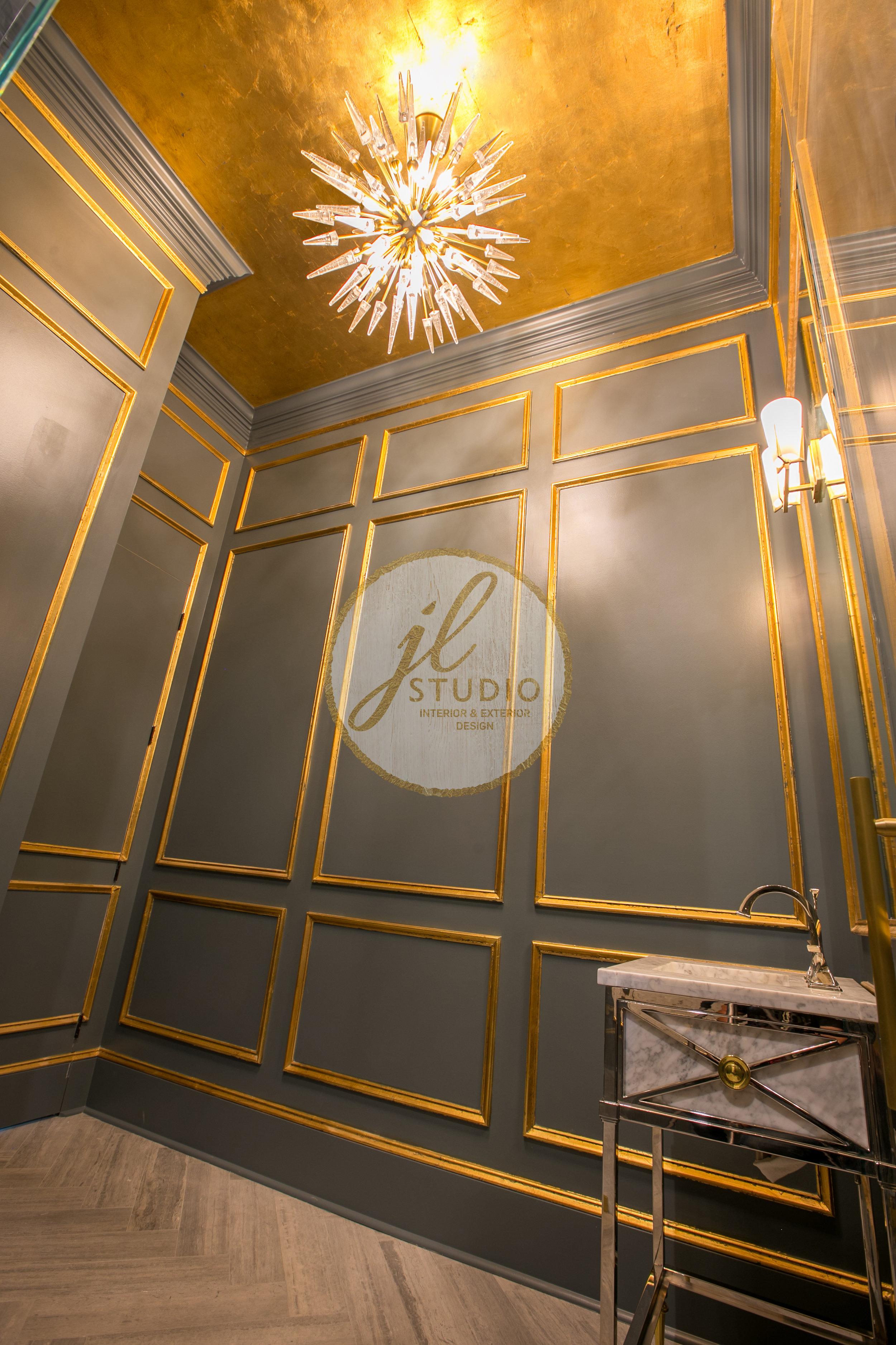 Powder bathroom designed by JL Studio