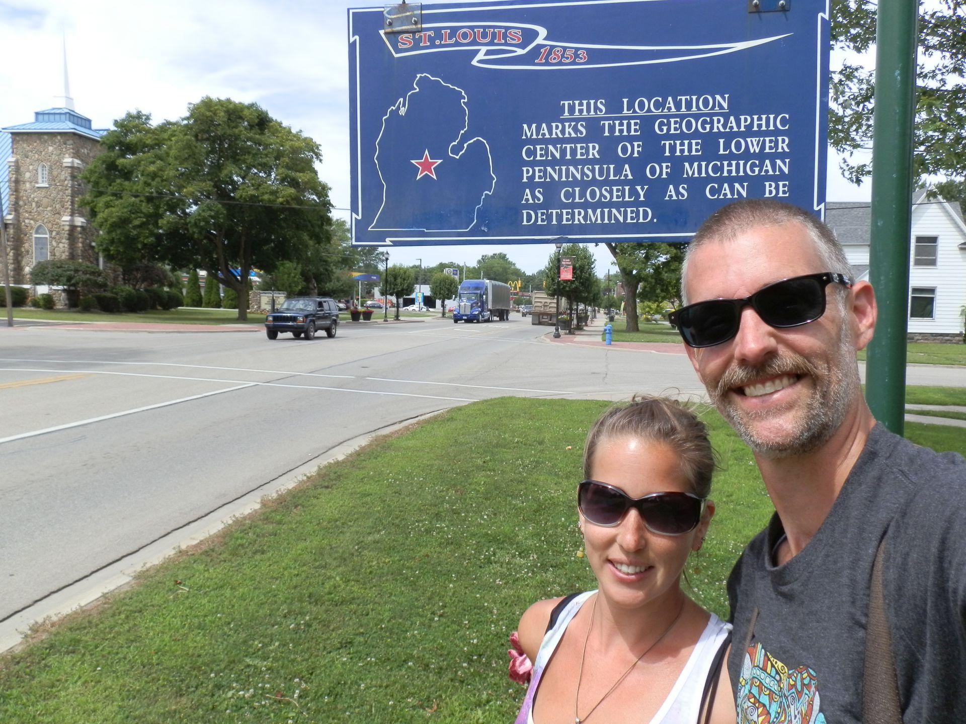 Matt & Erica in St. Louis, Michigan- The geographic center of the Mitten