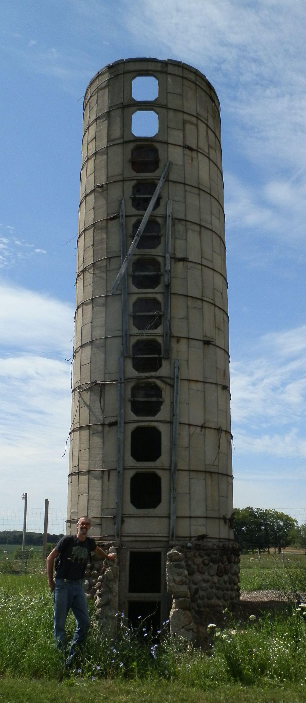 Matt checking out retired silo at Good News Farm & Market