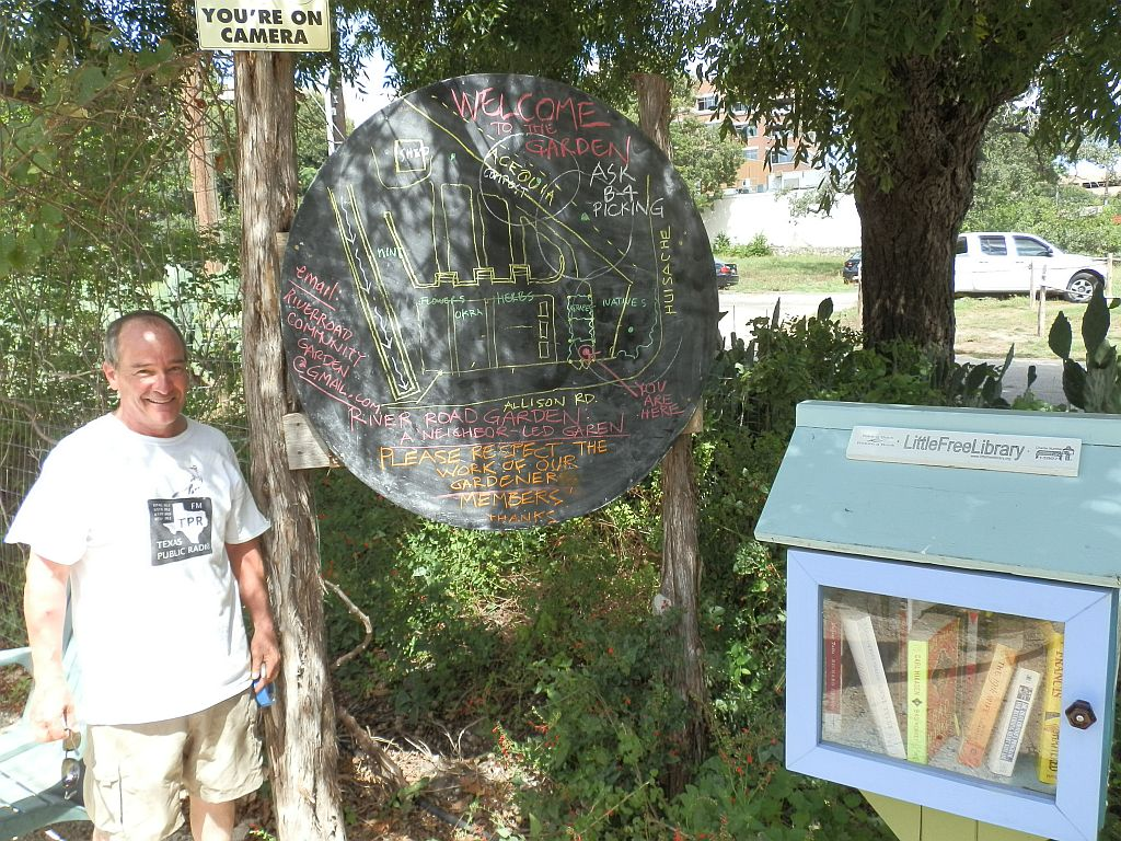 Larry Clark- Garden Steward and River Road Neighborhood resident. Little Free Library donated and built by local resident Ed.