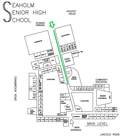 Seaholm HS Map to Media Center