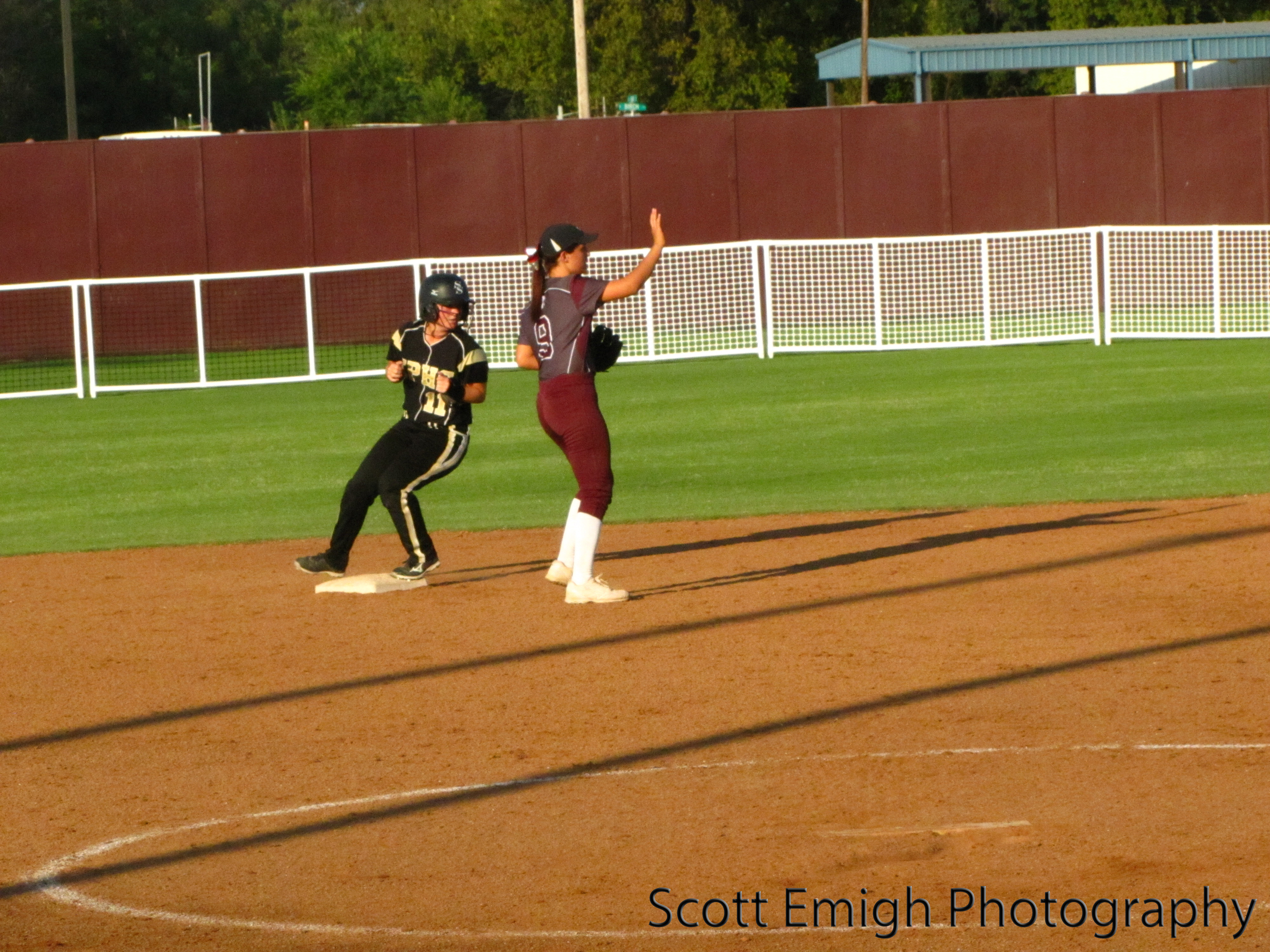 Stella Millican reaches second base on a double into right field.jpg