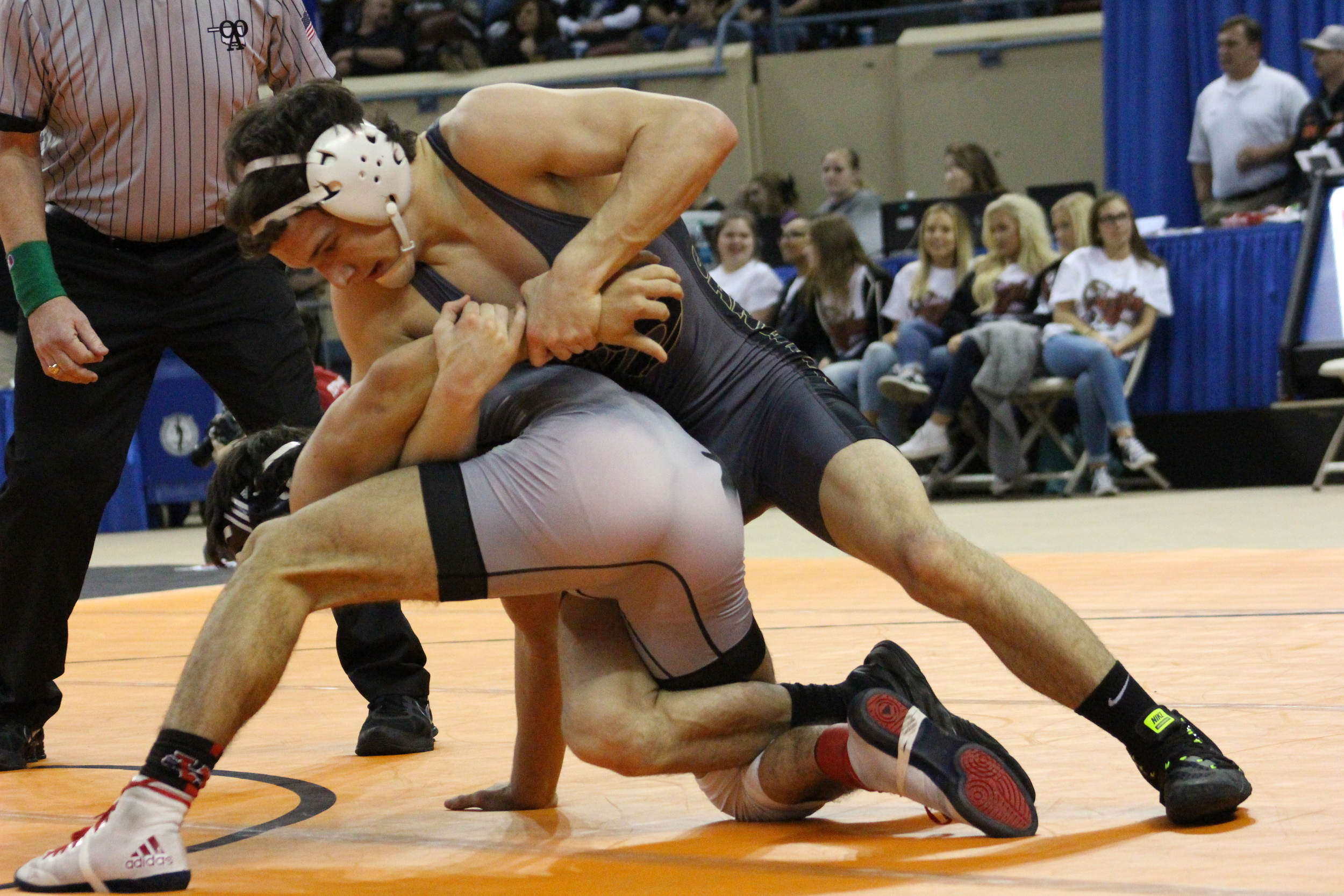 Junior Beau Bratcher pinned both of his opponents at State en route to the finals.