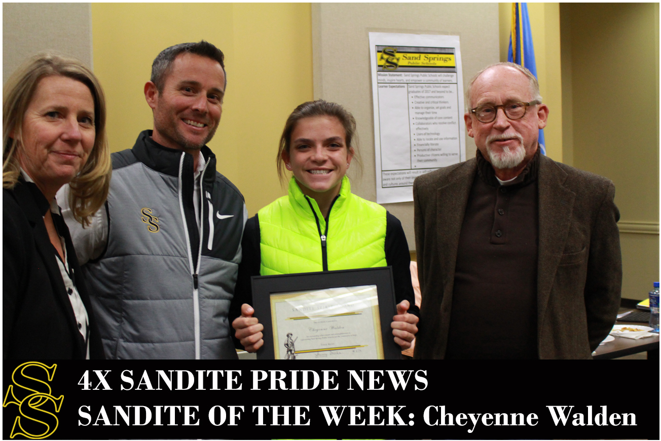 Left to right: Superintendent Sherry Durkee, Cross Country Head Coach Chris Corbin, Sandite of the Week Cheyenne Walden, Mayor and CC Assistant Coach Mike Burdge.