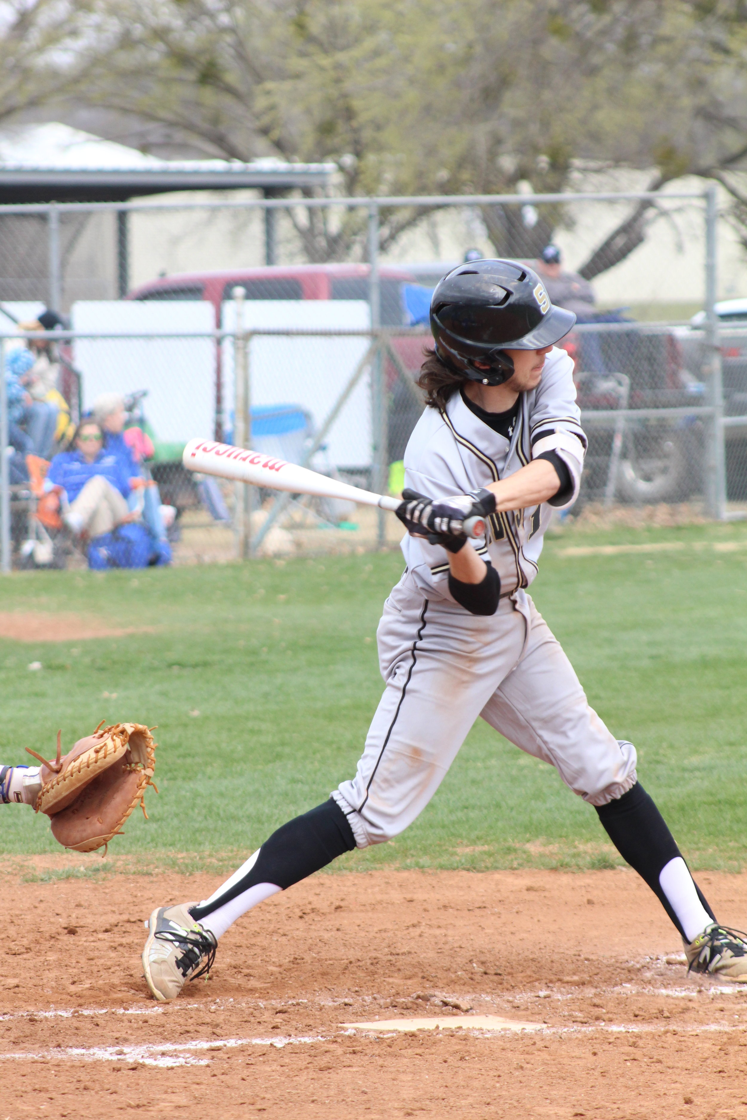 Senior shortstop Mack Thompson is the only Sandite to land a base hit in all three games this season. (Photo: Scott Emigh).