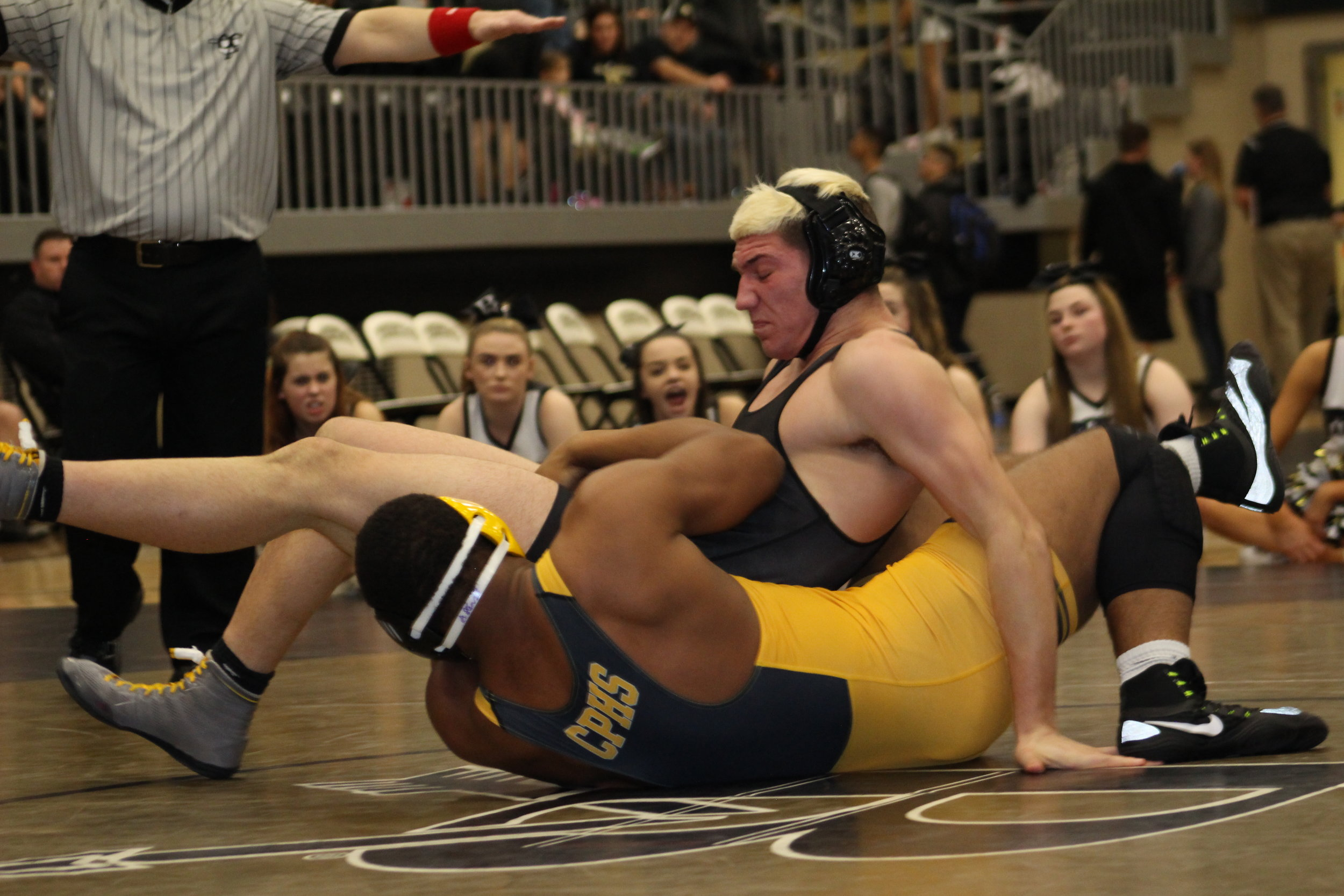 One of the most exciting matches of the season, Delvin Jordan defeated defending State Champion Zach Marcheselli 4-3 in the Broken Arrow dual.