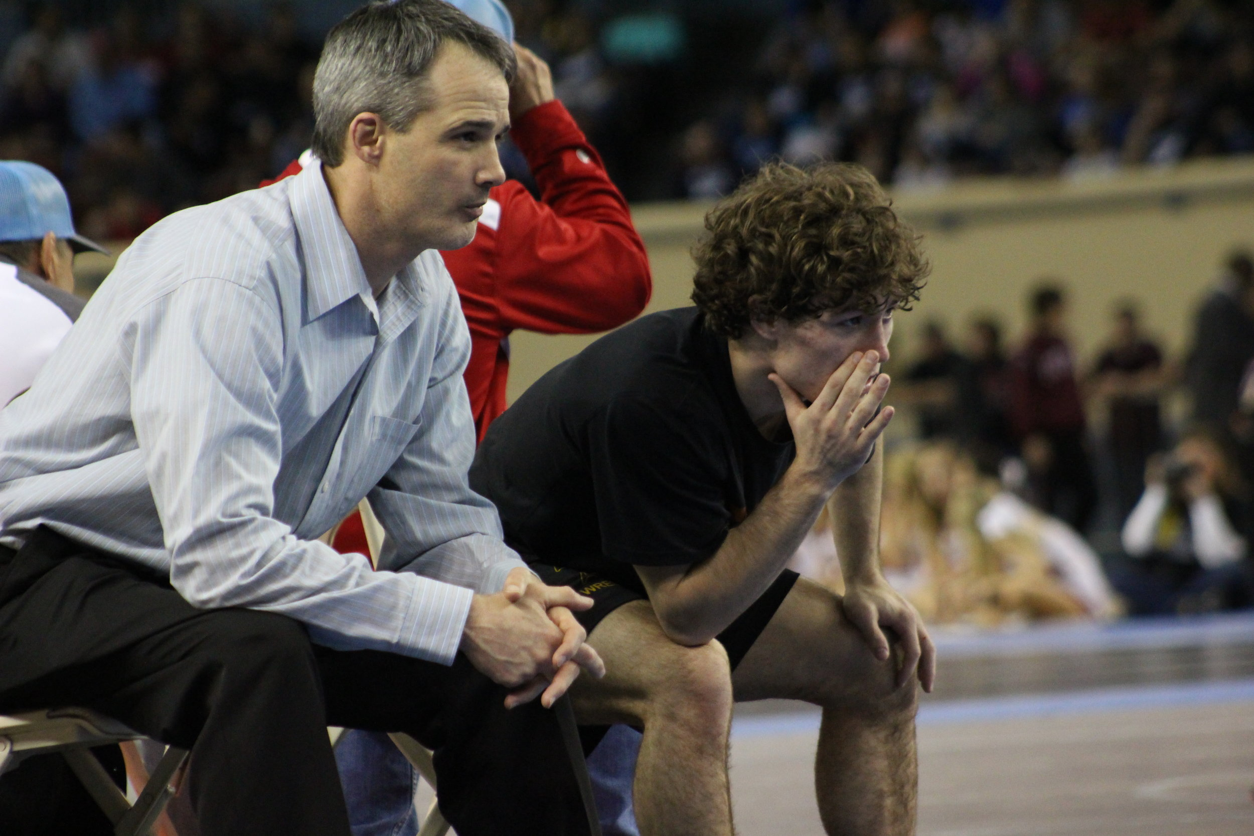 State Champion Daton Fix joined Head Coach Kelly Smith to coach Payton Scott in the finals.