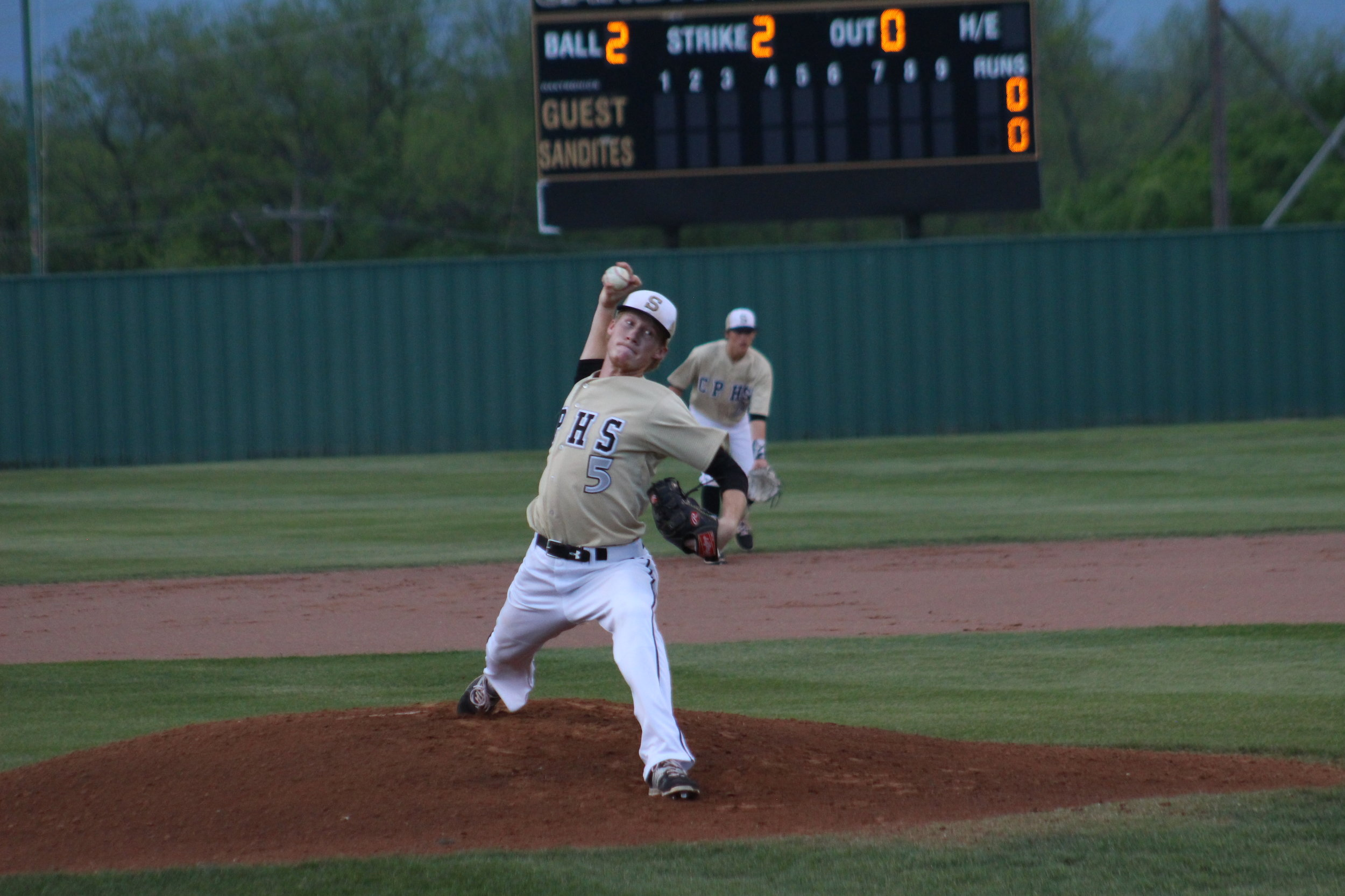 CPHS senior pitcher Hunter Greathouse pitched 10 strikeouts in a 5-0 playoff shutout of Jenks.