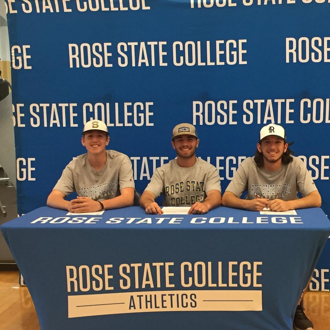 Left to right: Josh Cordell, Treyce Tolbert, and Mack Thompson all signed letters of intent to play baseball for Rose State College. ( Courtesy Photo).