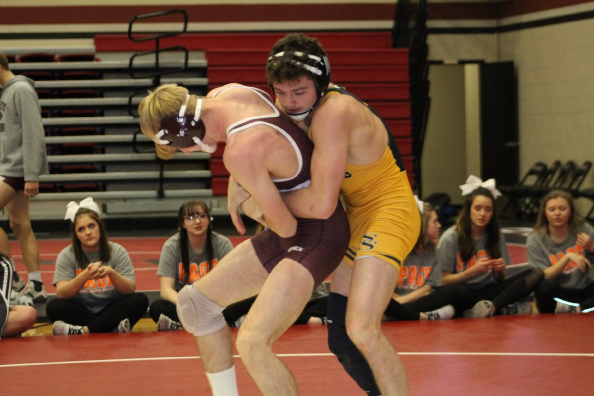 Jack Karstetter competes against a Perry wrestler at the 2nd Annual Ram Duals. (Click to view full gallery).