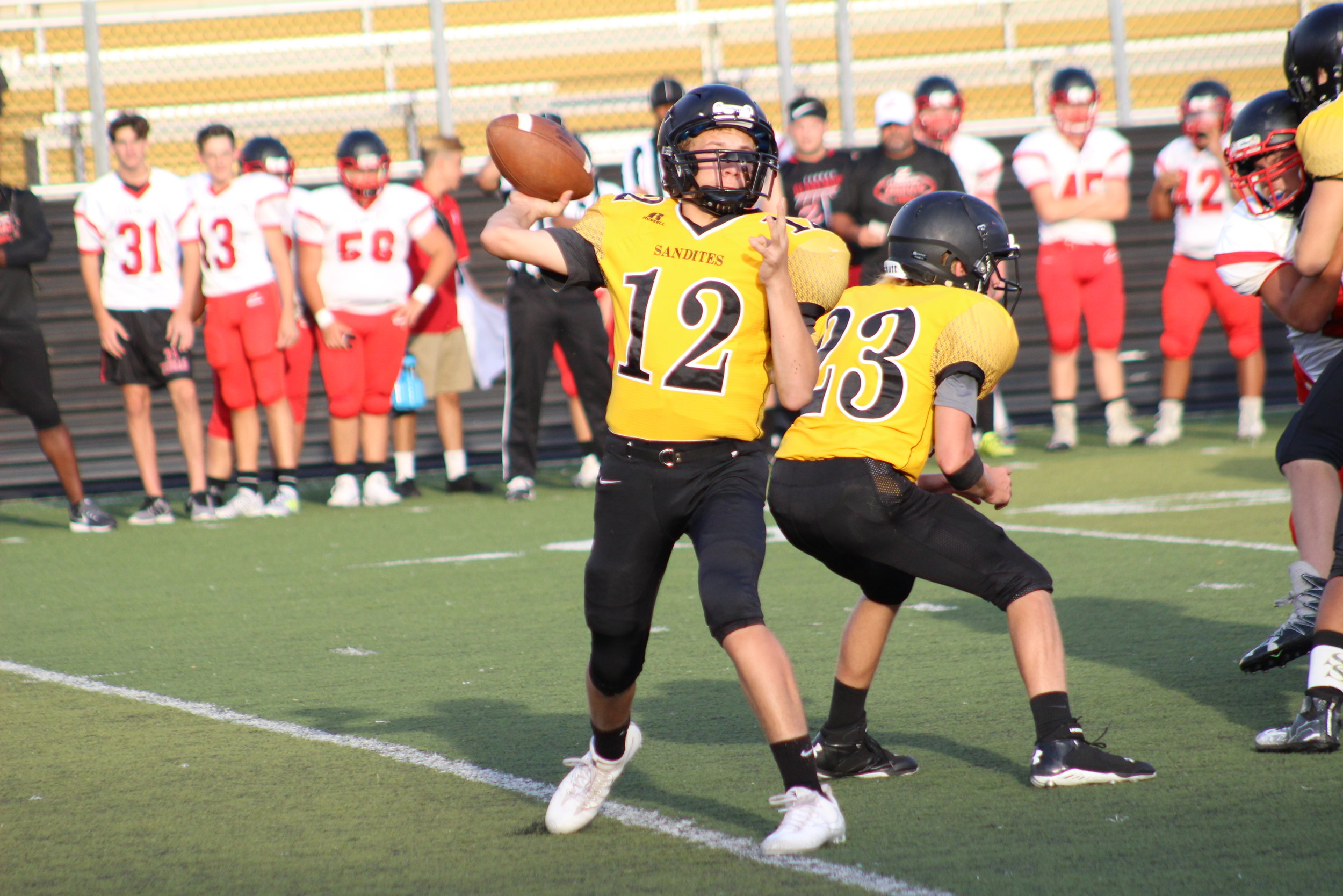 Braden Foster (pictured here in a scrimmage against Claremore) threw a touchdown on his first varsity pass attempt Friday night in Ponca City.