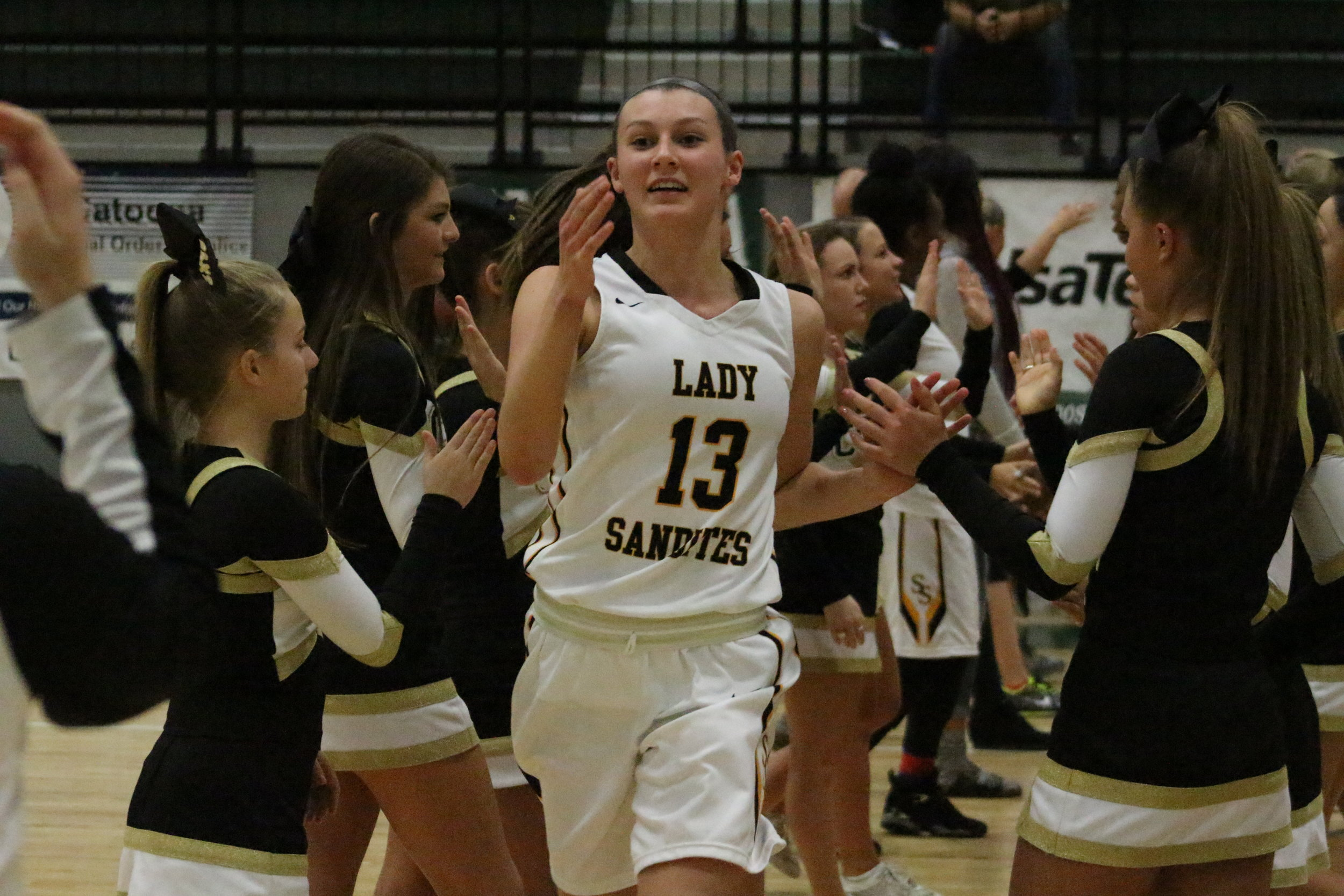 Holly Kersgieter enters the court prior to the Area Championship game 160303 (Morgan Miller).JPG