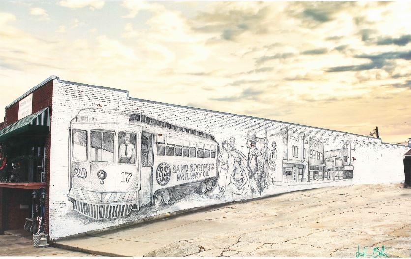 Artist rendering of a mural on the side of the Yesterday To Now Antique & Art Mall. (Courtesy photo).