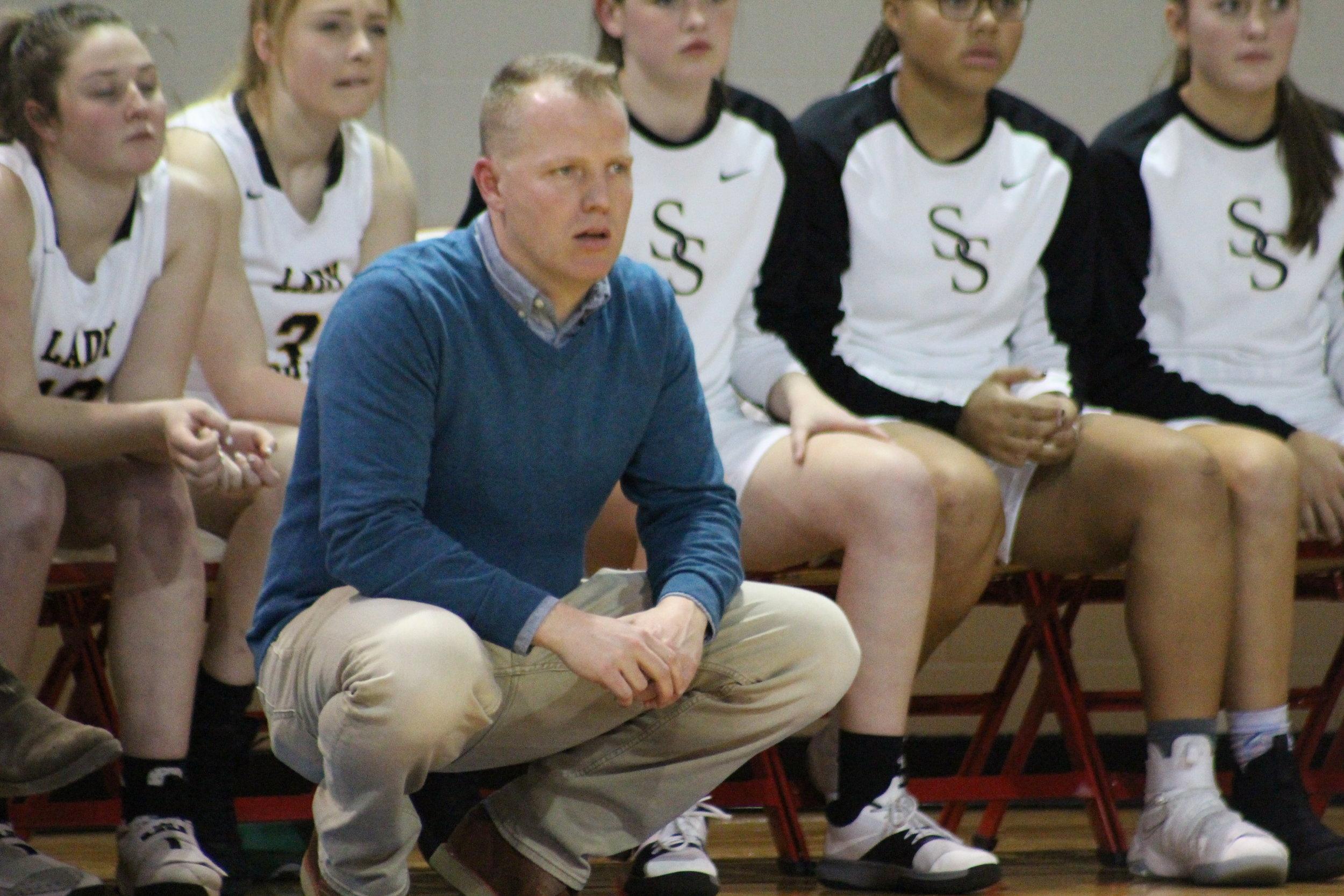 Mar. 09, 2018. CPHS Girls' Basketball Coach Dustin Morrow coaches his team in a State Quarterfinals game against Choctaw. (Photo: Scott Emigh).