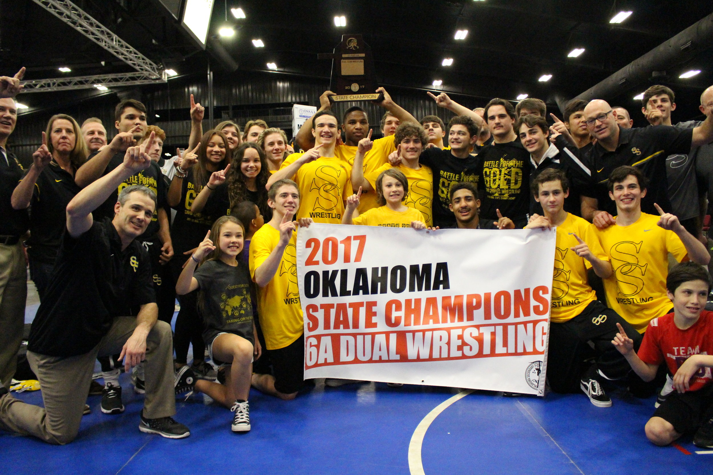 CPHS Head Coach Kelly Smith led the Sandites to their first ever Dual State Championship in 2017, and first school State Title in any sport since 1994. (Photo: Scott Emigh).