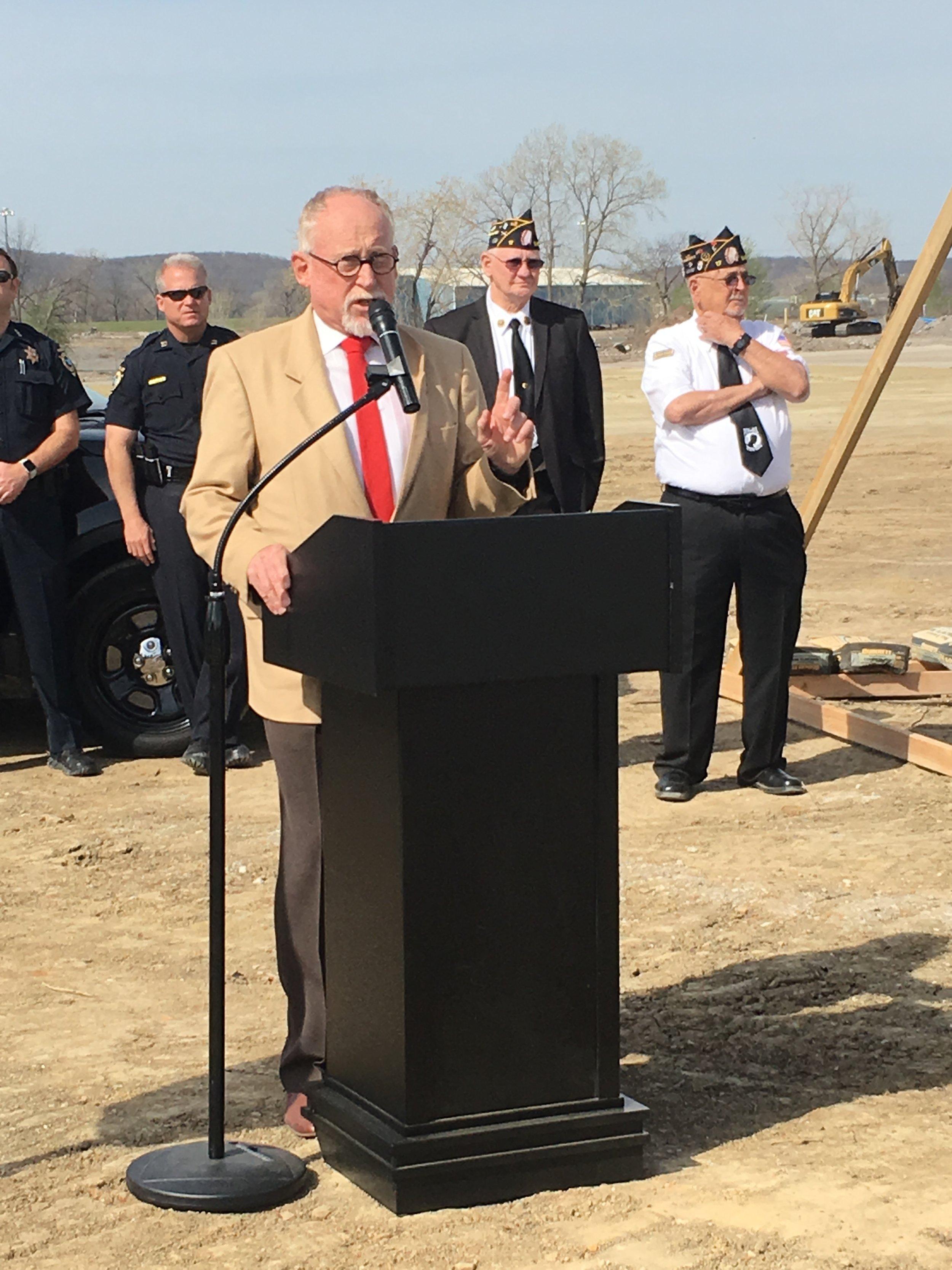 Mayor Mike Burdge speaks at the new Billie A. Hall Public Safety Center ground-breaking ceremony.