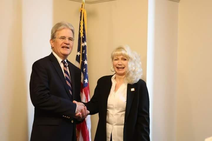 House District 66 candidate Emily Delozier shakes hands with former U.S. Congressman Dr. Tom Coburn after receiving an endorsement from the conservative activist. (SUBMITTED).