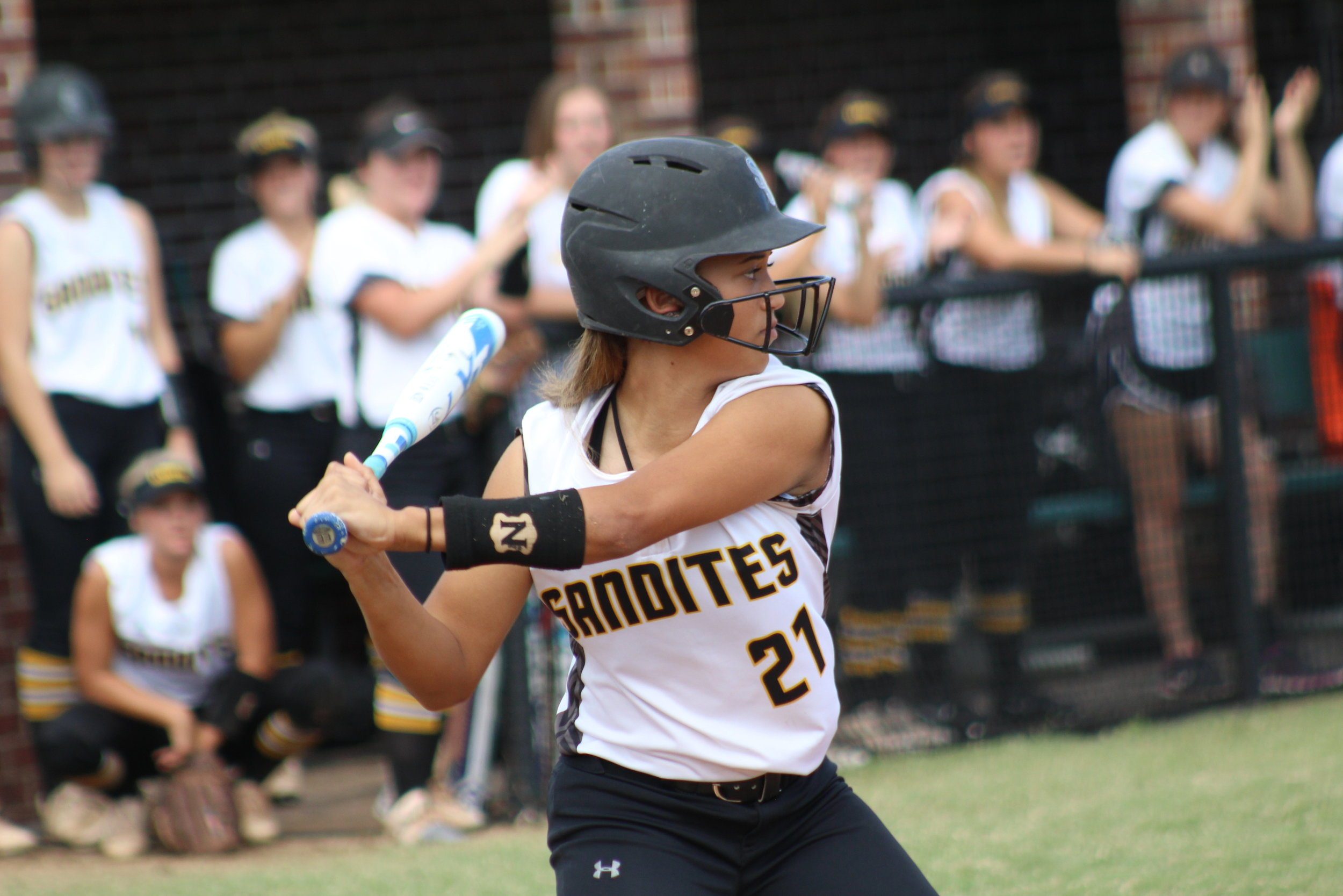 Sabrina Usher is the only Lady Sandite to hit a home run this season.