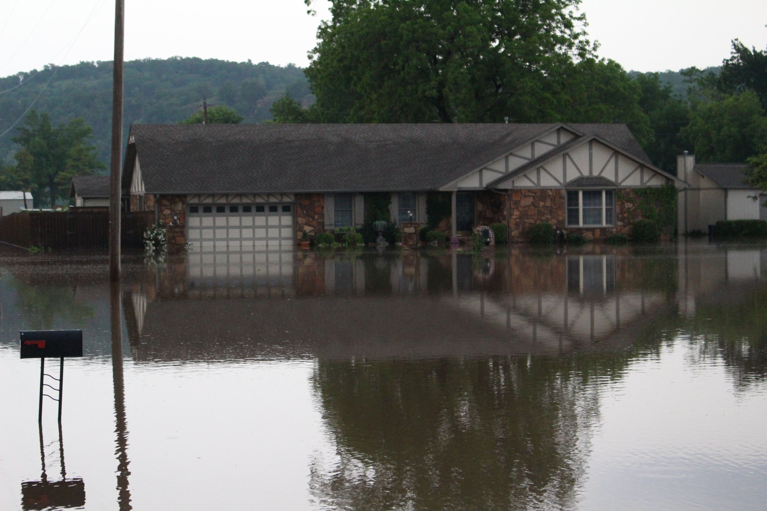 One of hundreds of flooded homes in Sand Springs, Oklahoma during a historic flooding event in May of 2019.