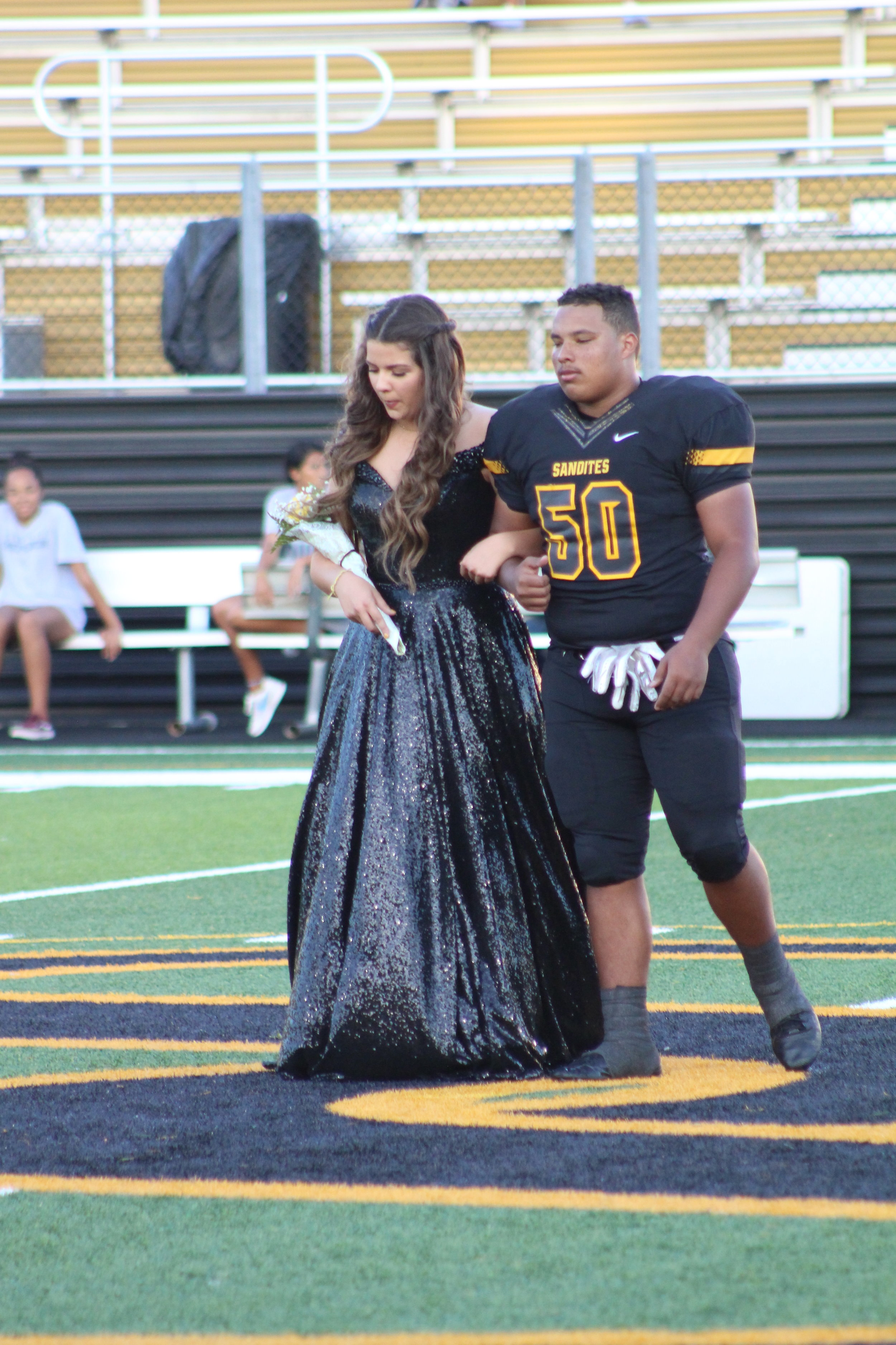 Sydney Boyd, escorted by Isaiah Jordan. Boyd is the daughter of Mark and Vicky Boyd. Jordan is the son of Alisha Thompson and Stacy Jordan. He is a three-year varsity lineman.