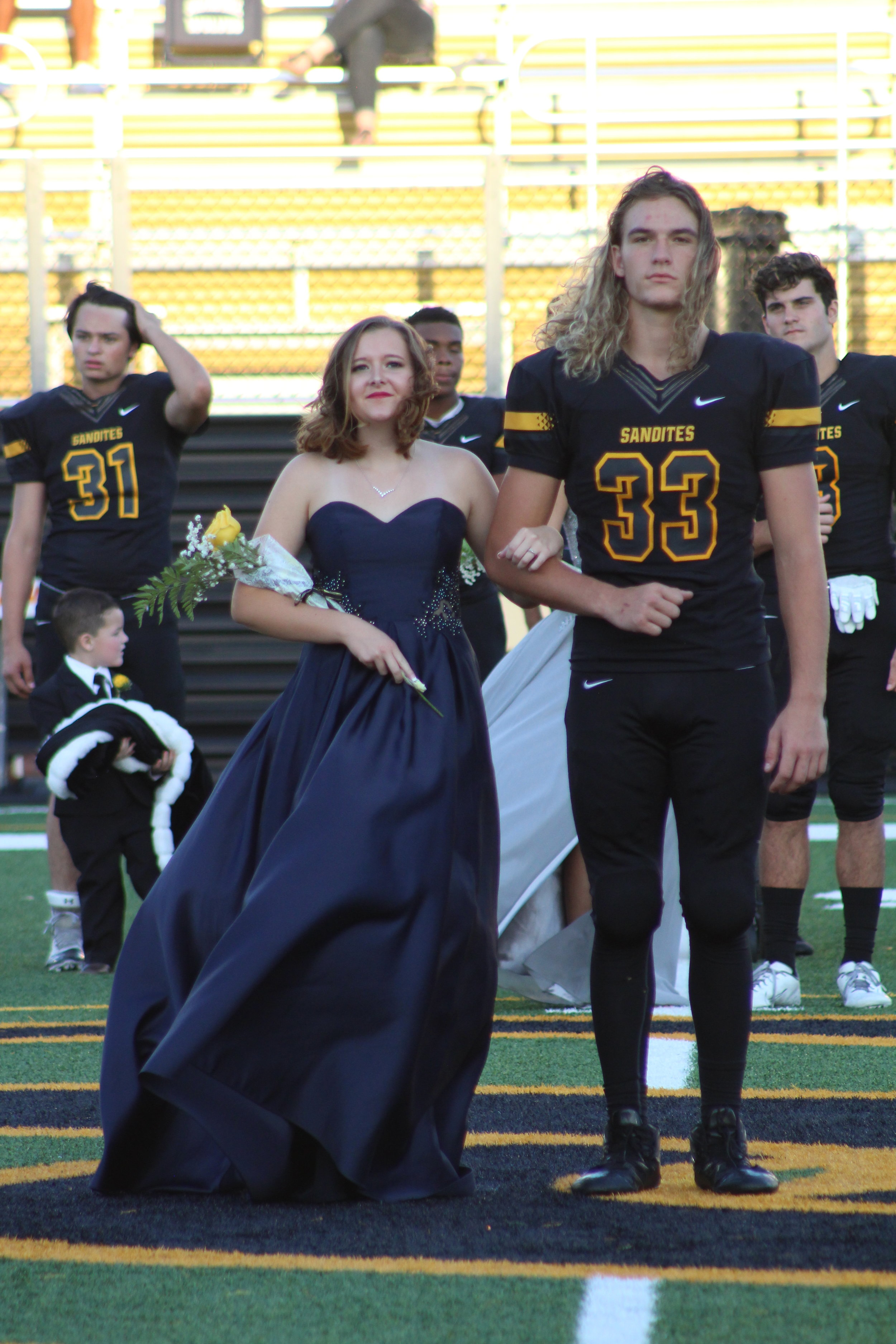 Kristin Shipley, escorted by Riley Magee. Shipley is the daughter of Darin and Pam Shipley. She is a four-year Gold Pride Marching Band member. Magee is the son of Jamy and Erica Magee and is a three-year varsity defensive lineman.