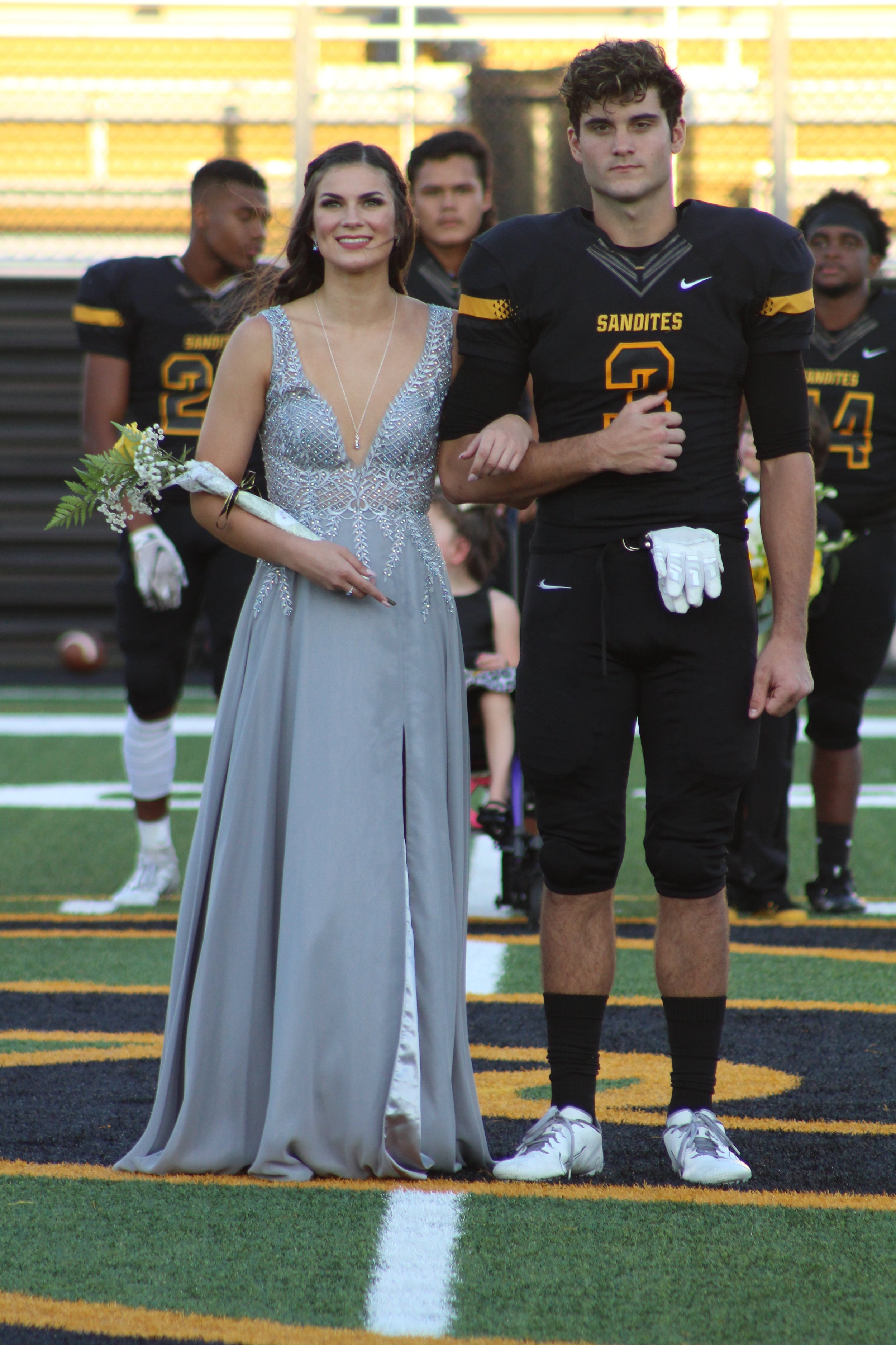 Sloan Goggin, escorted by Jacob Snodgrass. Goggin is the daughter of Pat and Cherry Goggin and is a four-year varsity dancer. Snodgrass is the son of Rodney and Jennifer Snodgrass. He is a three-year varsity wide receiver.
