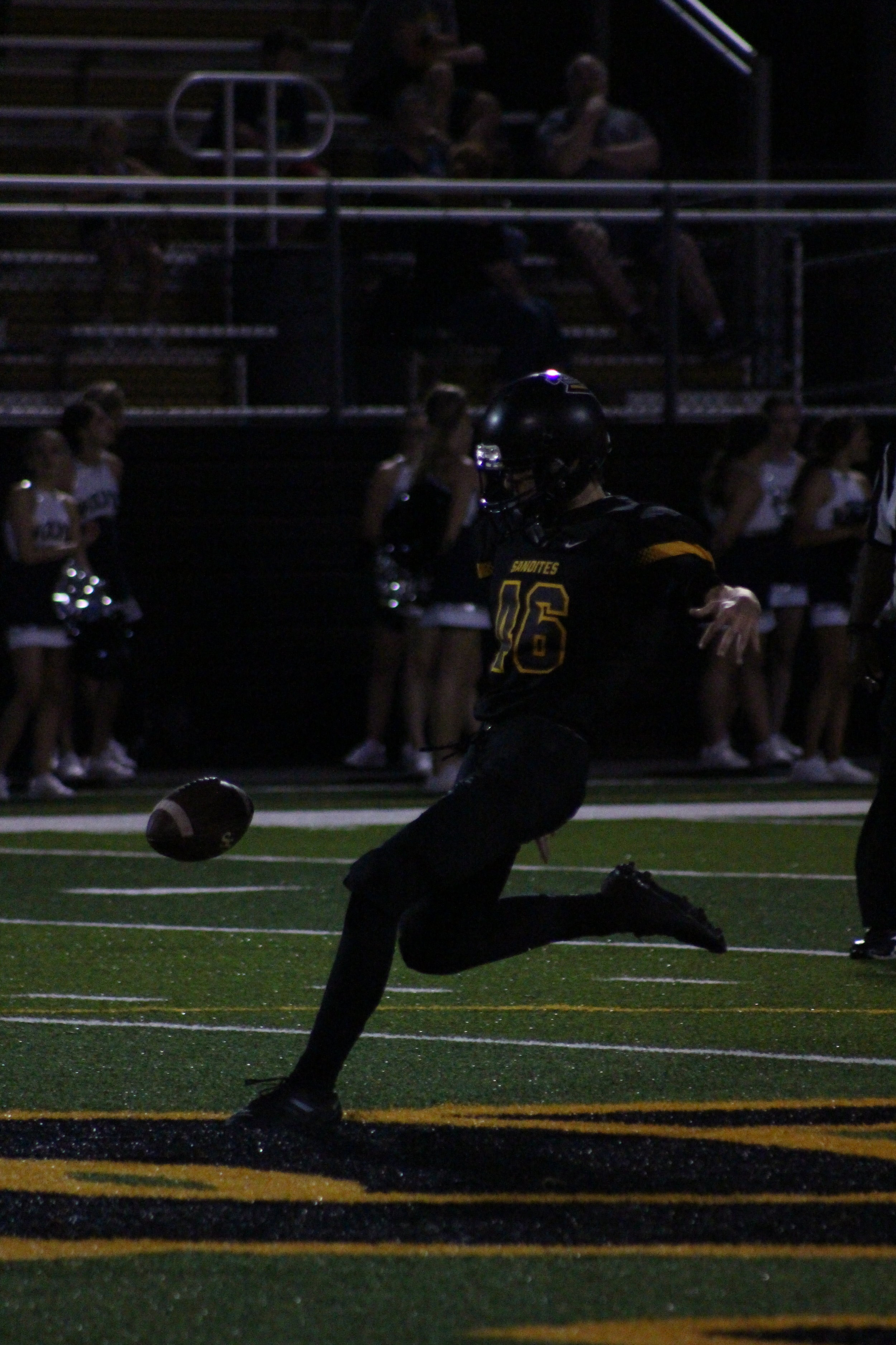 Junior kicker Zach Heinen is was 3/3 on PATs against Shawnee and is 11/11 in his debut season. He averaged 30 yards per punt and 46 yards per kick.