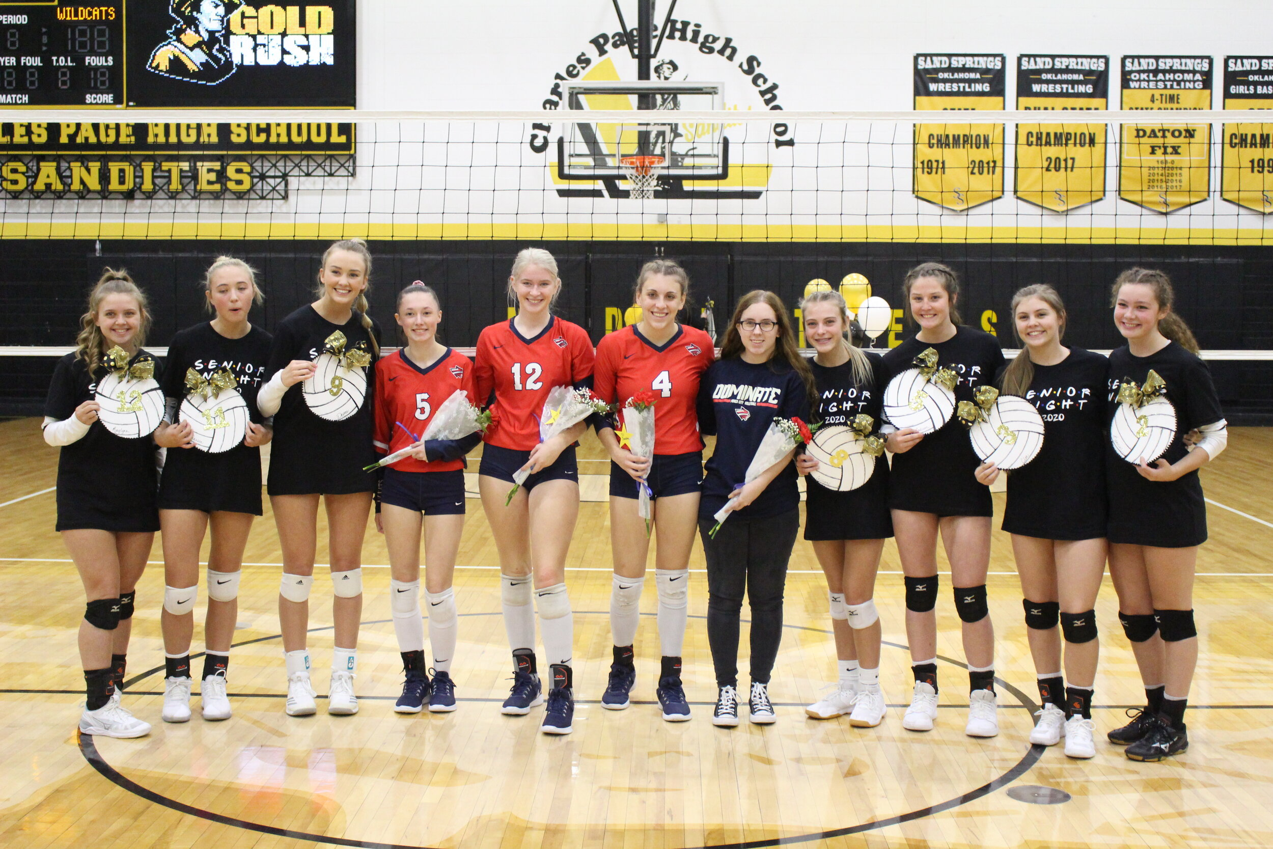 The Sandites also presented bouquets to Ponca City seniors Hannah Gibson, KaSandra Lyons, and Lindsay Hollis.
