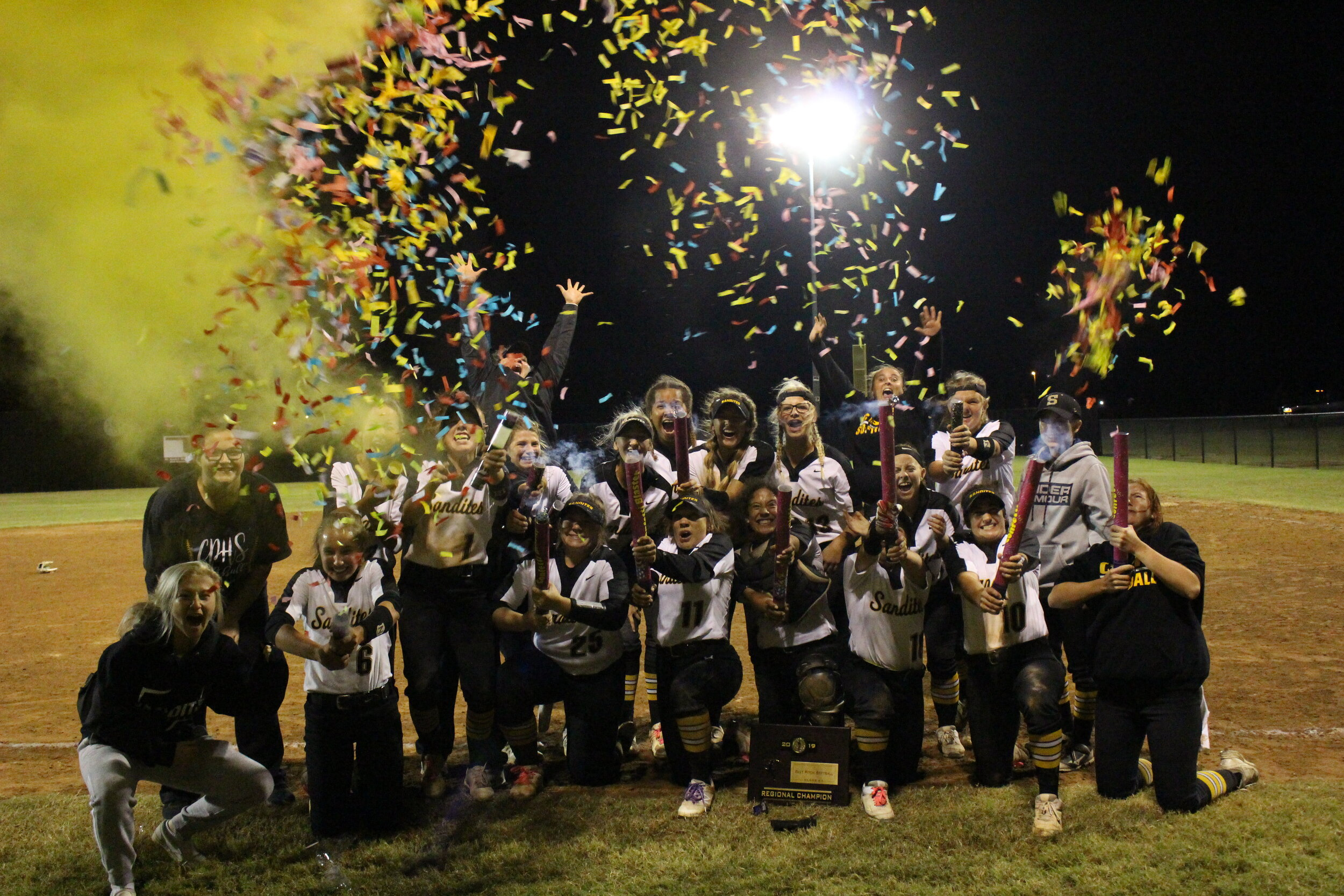 The 2019 Fast Pitch Softball Team won the Sandites' fifth-straight Regional Title.