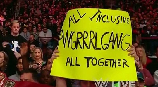 A sign by Joe Zantek, held up at a WWE television taping.