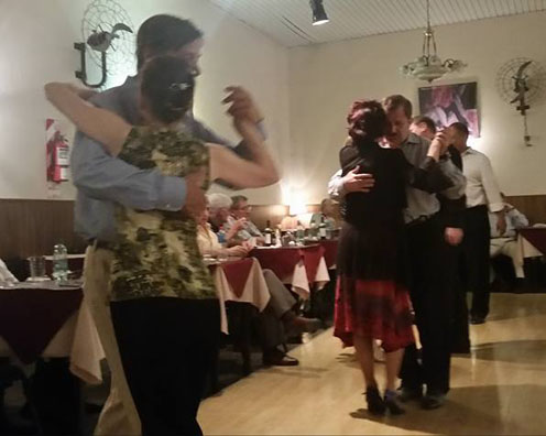 Ananda on the left in the green top dancing Tango in Buenos Aries, Dec 2015.