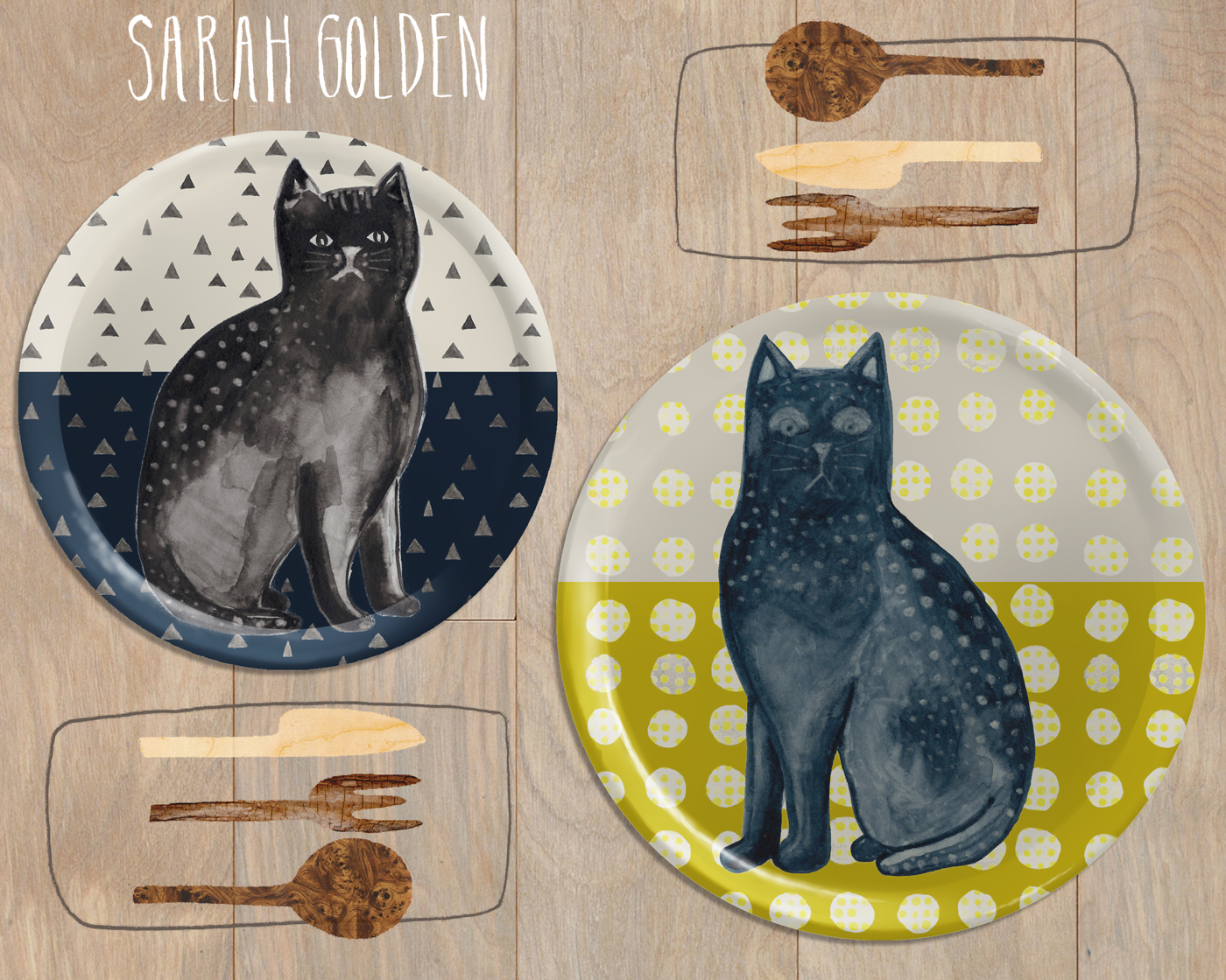 Cat Plates Mock Up by Sarah Golden -  www.sarahgolden.org