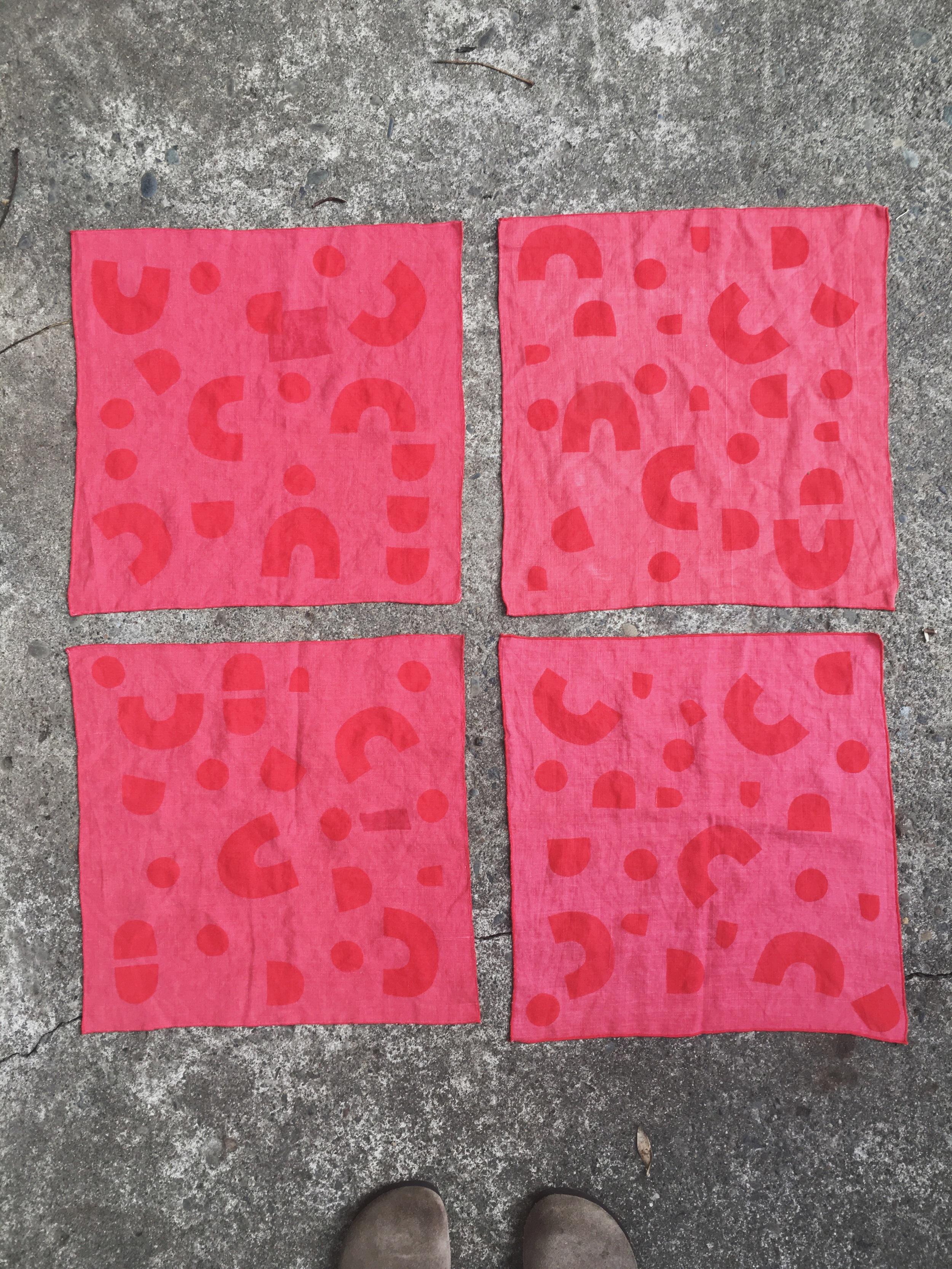 Block Print Vintage Napkins, Sarah Golden