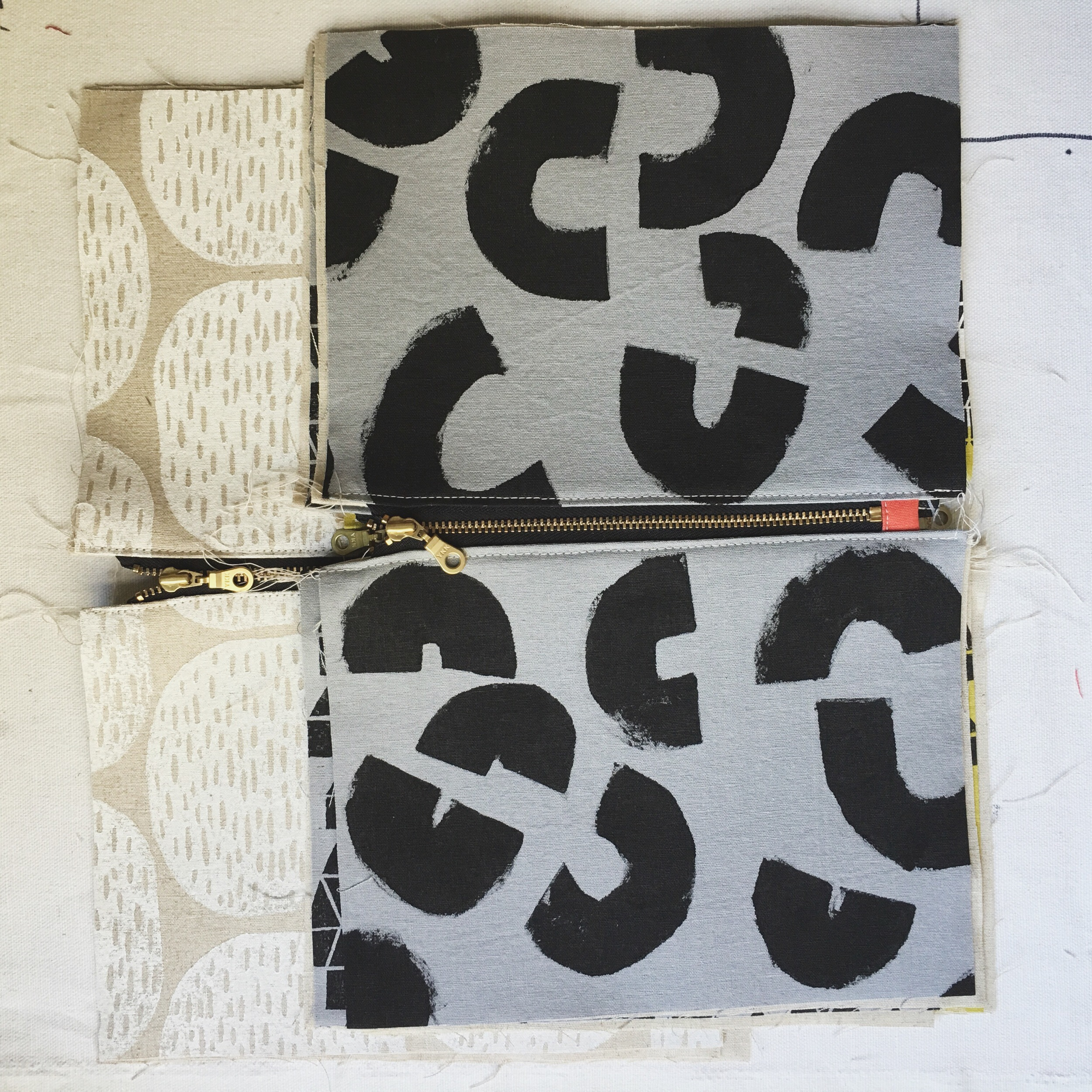 Block Print and Painted Zip Pouches, Sarah Golden