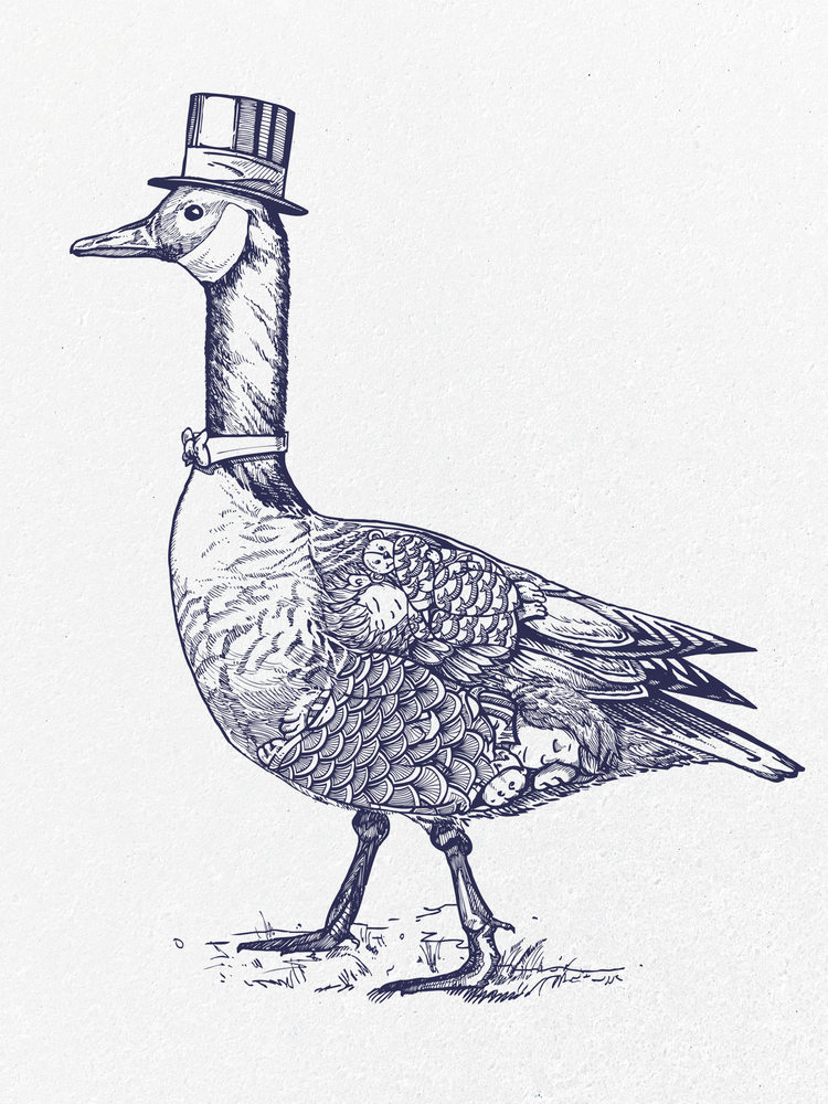 Papa's Goose - Guardian of children's sleepy slumber. Available for purchase at Society6