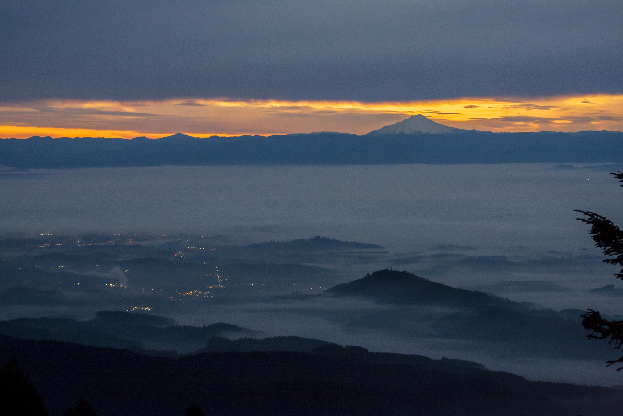 Sunrise from Mary's Peak, Mt Jefferson in the distance, Oregon.