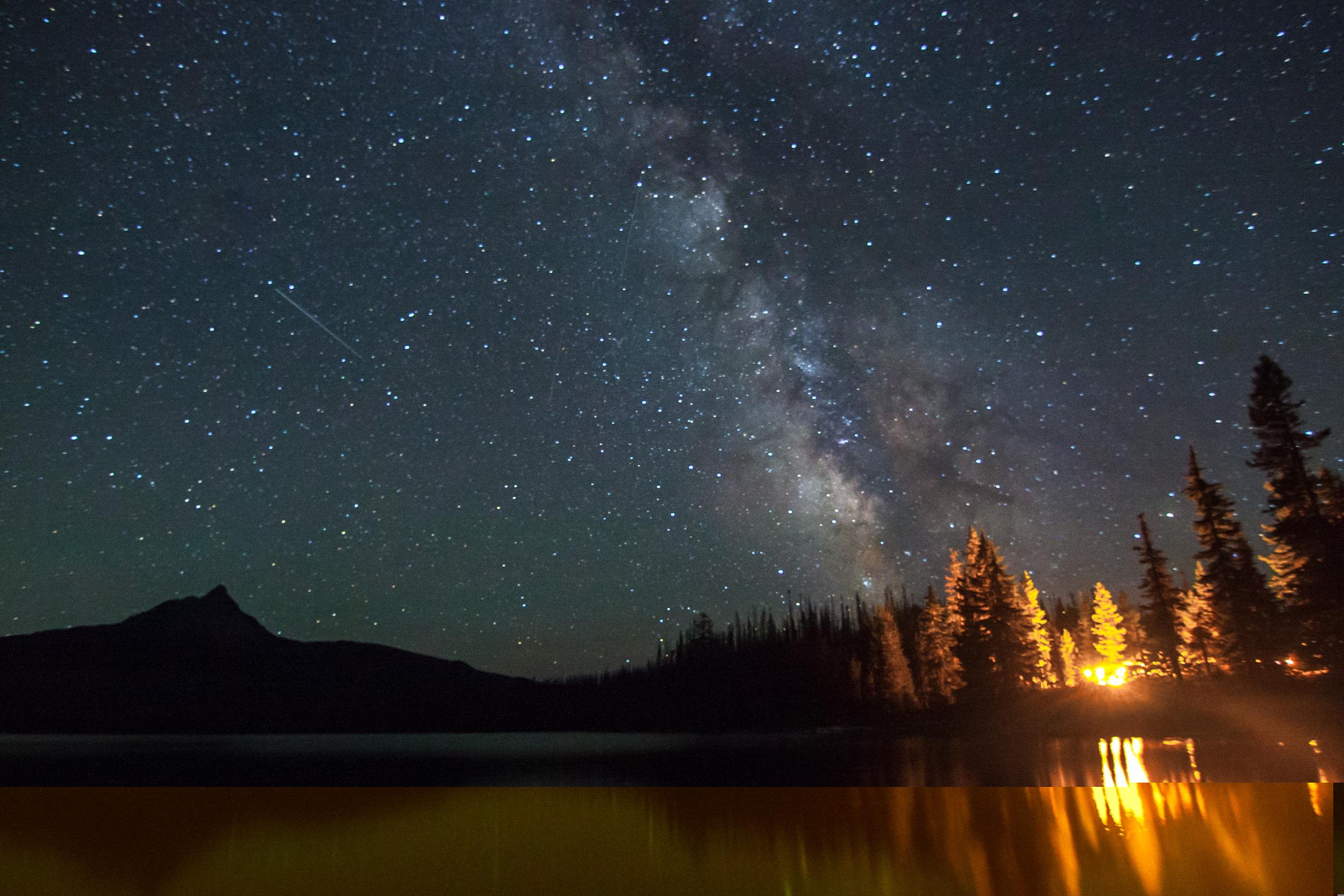 International Space Station over Big Lake and Mt Washington, Oregon, 2014.