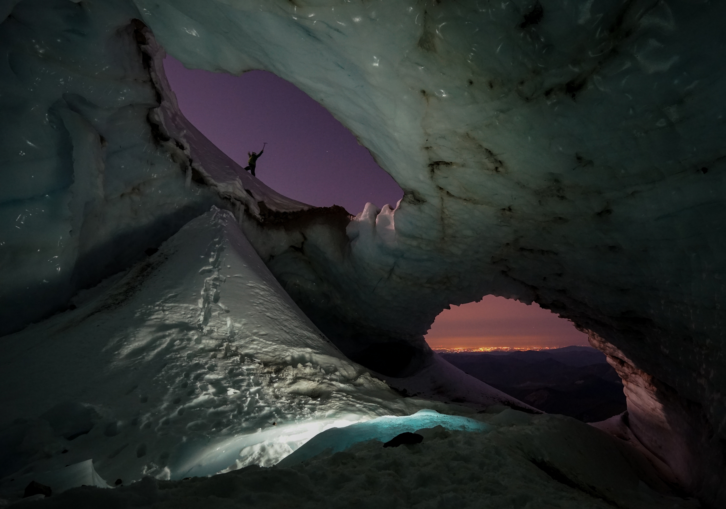 Mt Hood, Sandy Glacier Caves, Pure Imagination Cave. 2015. Available without person                  *Photo available without the person.