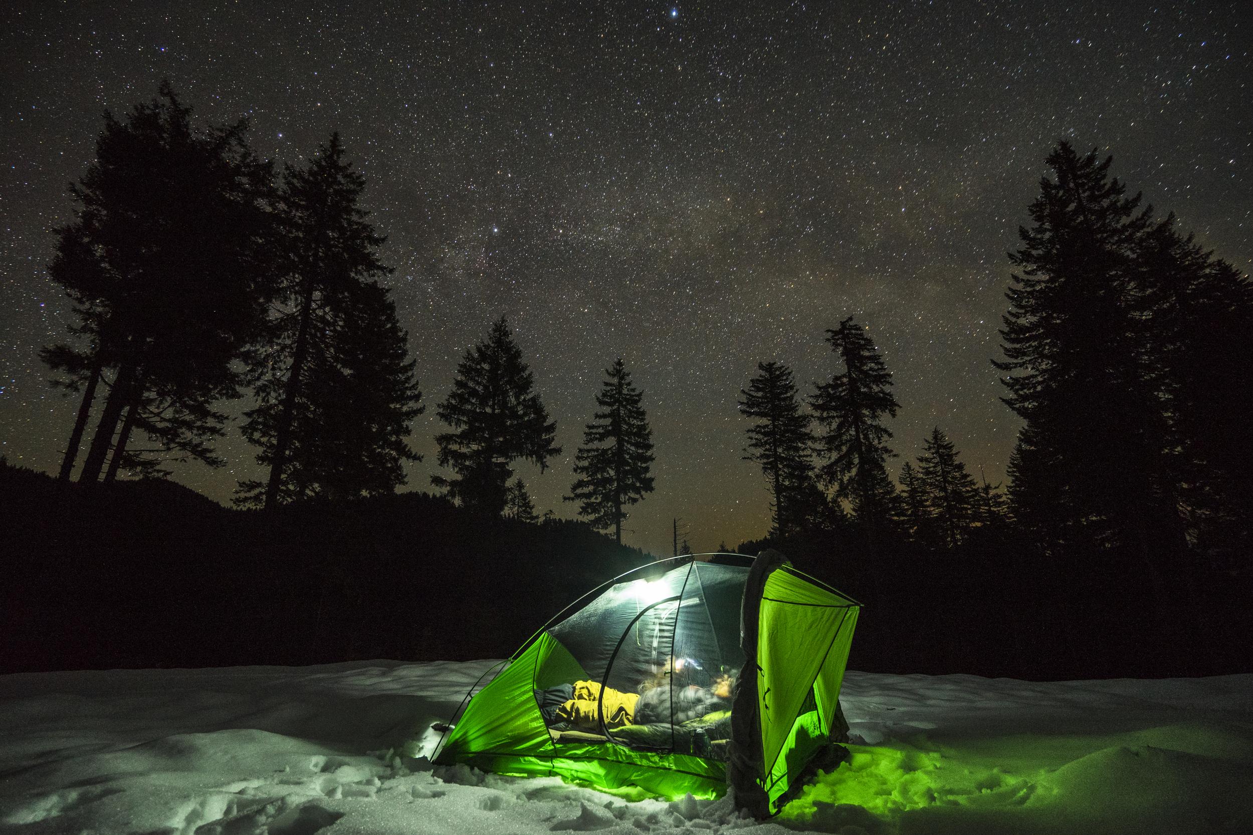 Milky Way over the Sierra Designs Nightwatch Tent.