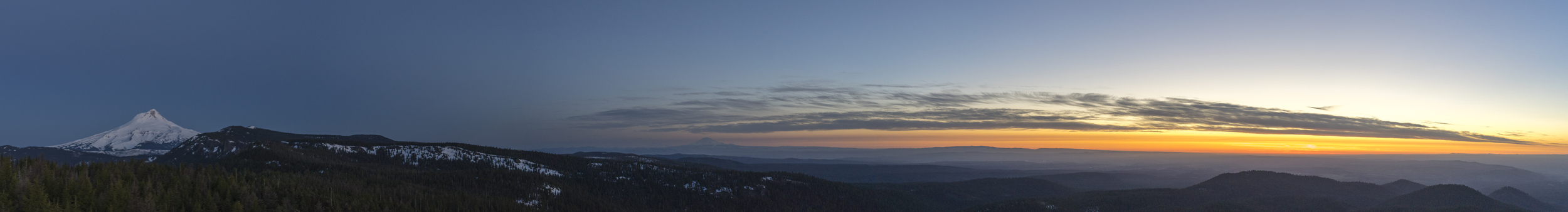 Sunrise from Flag Point Lookout tower near Mt Hood.  West to East.  Mt Adams and Rainier in the distance to the North.