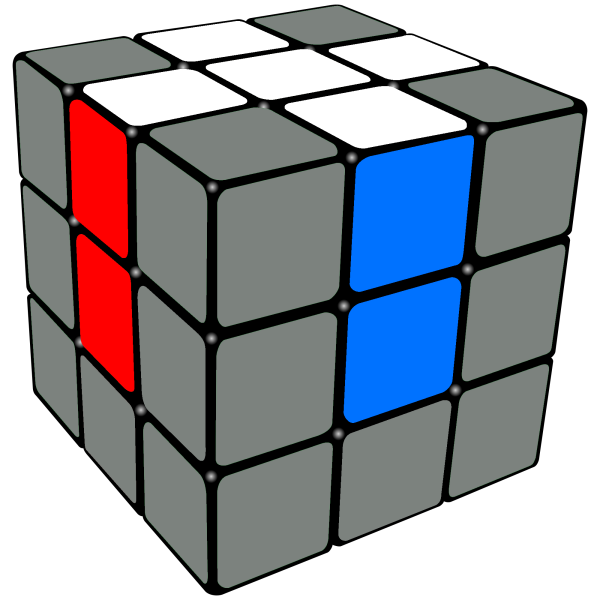 white cross on the  Rubix   Cube