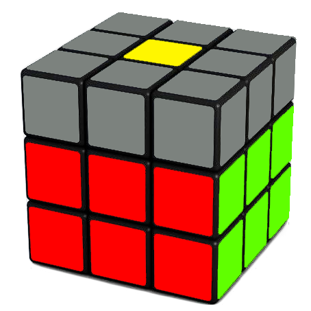 Your goal  - completing the second layer of the Rubik's Cube as shown above
