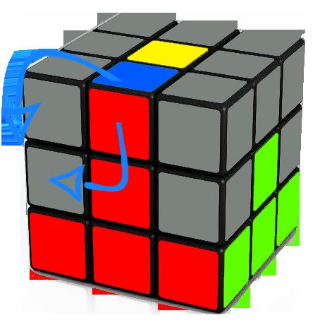 inserting edge into the second layer, to the left of the Rubik's Cube     Ui Li U L U F Ui Fi
