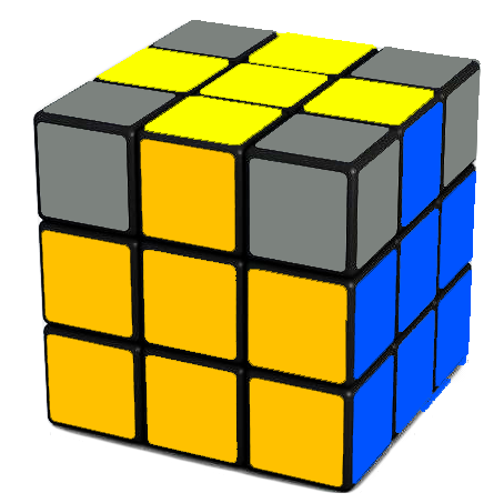 Back view of the Rubik's Cube after this step