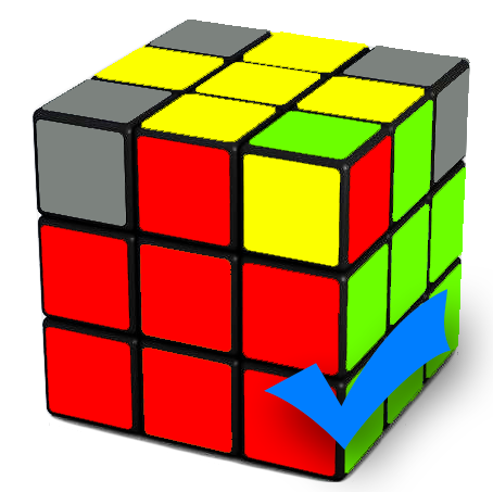Correctly oriented corner of a Rubix Cube